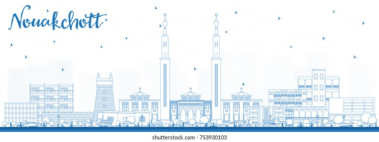 Outline Nouakchott Mauritania Skyline with Blue Buildings. Vector Illustration. Business Travel and Tourism Concept with Modern Architecture.