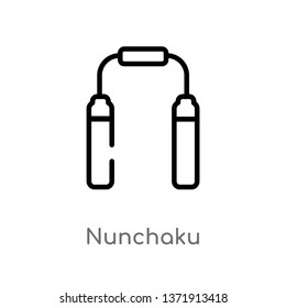 outline nunchaku vector icon. isolated black simple line element illustration from asian concept. editable vector stroke nunchaku icon on white background
