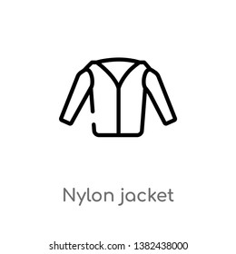 outline nylon jacket vector icon. isolated black simple line element illustration from clothes concept. editable vector stroke nylon jacket icon on white background