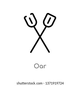 outline oar vector icon. isolated black simple line element illustration from camping concept. editable vector stroke oar icon on white background