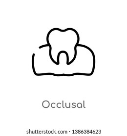 outline occlusal vector icon. isolated black simple line element illustration from dentist concept. editable vector stroke occlusal icon on white background