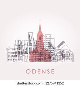 Outline Odense skyline with landmarks. Vector illustration. Business travel and tourism concept with historic buildings. Image for presentation, banner, placard and web site.
