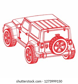 Outline off road car. off road car vector. Car ilustration. off-road logo ilustration. suv ilustration. perspective car drawing.
