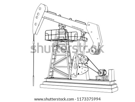 Outline Oil Pumpjack Vector Stock Vector Royalty Free 1173375994
