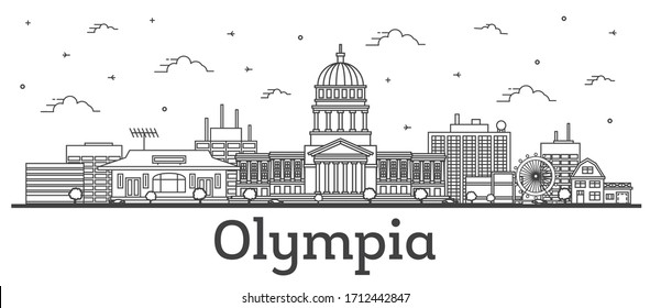 Outline Olympia Washington City Skyline with Modern Buildings Isolated on White. Vector Illustration. Olympia USA Cityscape with Landmarks.