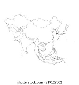 Outline Map Of Asia Continent.Blank Political Outline Map Asia Continent Stock Vector Royalty