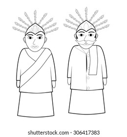 outline of Ondel - ondel (big jakarta traditional puppet)