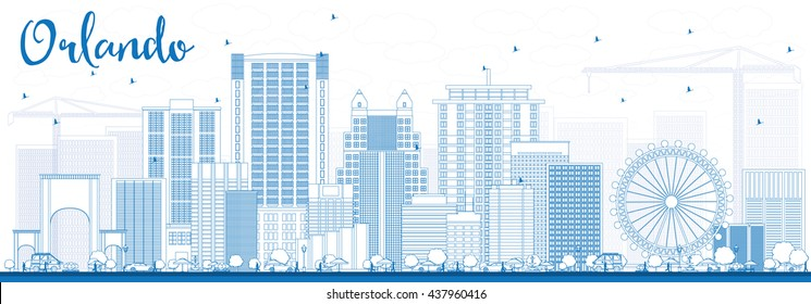 Outline Orlando Skyline with Blue Buildings. Vector Illustration. Business Travel and Tourism Concept with Orlando City. Image for Presentation Banner Placard and Web Site.