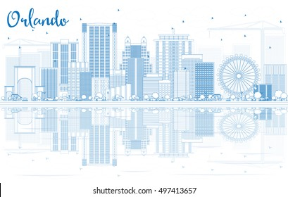 Outline Orlando Skyline with Blue Buildings and Reflections. Vector Illustration. Business Travel and Tourism Concept with Modern Architecture. Image for Presentation Banner Placard and Web Site.