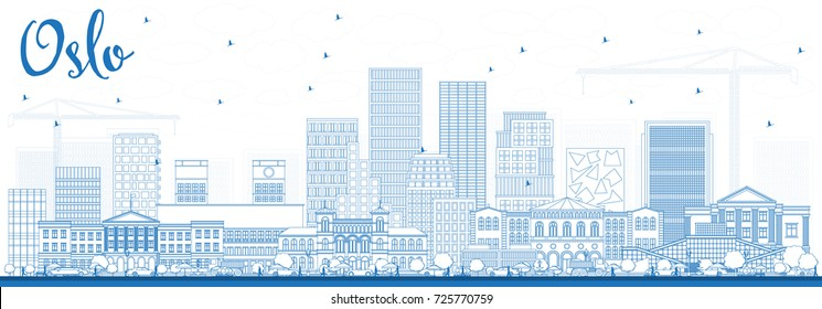 Outline Oslo Norway Skyline with Blue Buildings. Vector Illustration. Business Travel and Tourism Illustration with Modern Architecture.