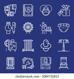 Outline other icon set such as baby nipple, pacifier, baggage, street light, gifts, agenda, books, woman suffrage, diaper, heater, watch