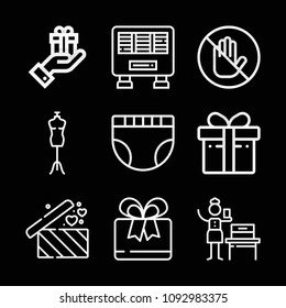 Outline other icon set such as dummy, gift, supermarket gift, gifts, woman suffrage, diaper, heater