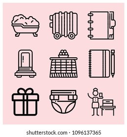 Outline other icon set such as supermarket gift, bath, notebook, agenda, woman suffrage, diaper