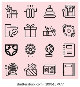 Outline other icon set such as gift, gifts, folder, agenda, notebook, woman suffrage, diaper, heater, watch, globe, ferris wheel, postcard
