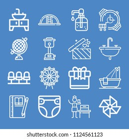 Outline other icon set such as gift, gifts, playground, sink, bathroom, bathtub, notebook, woman suffrage, seats, diaper, heater, watch, globe, ferris wheel, windmill