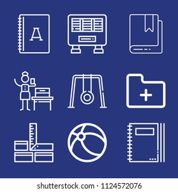 Outline other icon set such as agenda, bookmark, notebook, woman suffrage, folder, heater, carpenter, swing