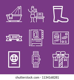 Outline other icon set such as gift, bathtub, agenda, woman suffrage, watch, banner, boots, postcard