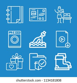 Outline other icon set such as gift, washing machine, folder, notebook, woman suffrage, bottle, boots, postcard
