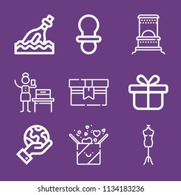 Outline other icon set such as dummy, gifts, gift, woman suffrage, bottle, heater
