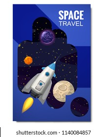 Outline outer space rocket space travel, exploration of the universe, other planets, flying rockets, stars of distant galaxies, template of flyear, magazines, posters, book cover, banners. Vector