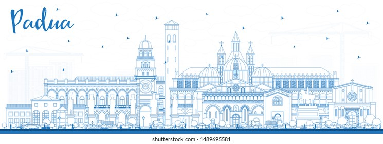Outline Padua Italy City Skyline with Blue Buildings. Vector Illustration. Business Travel and Concept with Historic Architecture. Padua Cityscape with Landmarks.