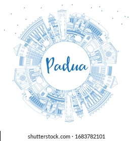 Outline Padua Italy City Skyline with Blue Buildings and Copy Space. Vector Illustration. Business Travel and Concept with Historic Architecture. Padua Cityscape with Landmarks.