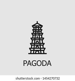 Outline pagoda vector icon. Pagoda illustration for web, mobile apps, design. Pagoda vector symbol.