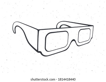 Outline of paper 3d glasses isometric view. Stereo retro glasses for three-dimensional cinema. Symbol of film industry. Vector illustration. Hand drawn black ink sketch, isolated on white background