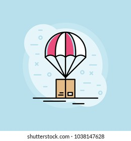 Outline Parachute Box Delivery Background
