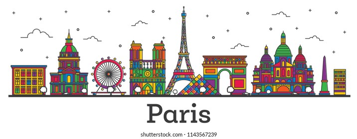 Outline Paris France City Skyline with Color Buildings Isolated on White. Vector Illustration. Paris Cityscape with Landmarks.