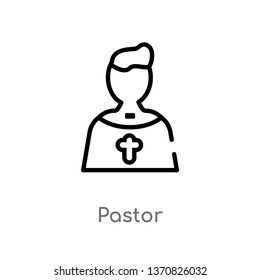 outline pastor vector icon. isolated black simple line element illustration from birthday party and wedding concept. editable vector stroke pastor icon on white background