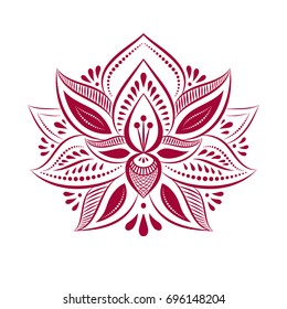 Outline pattern. Mandala. Ethnic style. Decorative lotus flower.