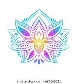 Outline pattern. Mandalas. Ethnic style. Decorative lotus flower.