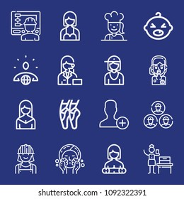 Outline people icon set such as wash, worker, engineers, avatar, woman suffrage, chef, ballet, add user, environmental, operator