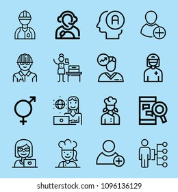 Outline people icon set such as woman, skills, worker, engineer, woman suffrage, avatar, chef, designer, intersex, user, add user, chatting
