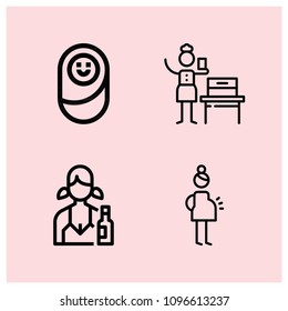 Outline people icon set such as pregnant, woman suffrage, avatar