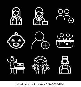 Outline people icon set such as bathtub, wash, woman suffrage, avatar, add contact, add user
