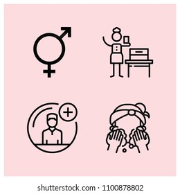 Outline people icon set such as washing, woman suffrage, intersex