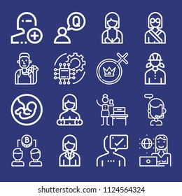 Outline people icon set such as woman, user, engineer, avatar, woman suffrage, gender, call center, pregnancy, runner, question, add user