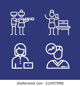 Outline people icon set such as worker, woman suffrage, avatar