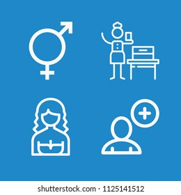 Outline people icon set such as woman suffrage, people, intersex