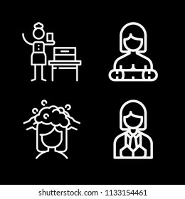 Outline people icon set such as hair washing, woman suffrage
