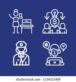 Outline people icon set such as woman suffrage, avatar, workers