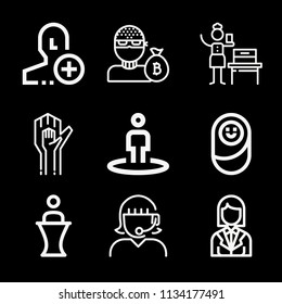 Outline people icon set such as avatar, woman suffrage, receptionist, call center, position, hands, newborn, add user