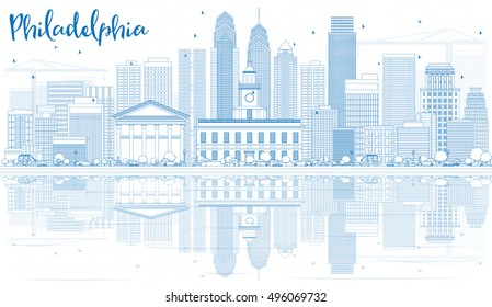 Outline Philadelphia Skyline with Blue Buildings and Reflections. Vector Illustration. Business Travel and Tourism Concept with Modern Architecture. Image for Presentation Banner Placard and Web Site.