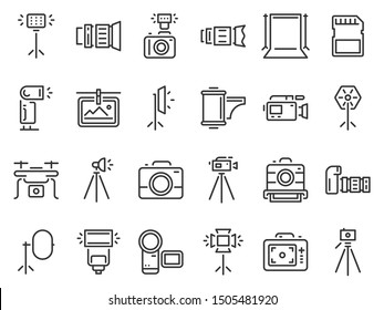 Outline photo icons. Photography studio light, film cameras and camera on tripod line. Photo lens technology, different digital and vintage cam pictogram. Isolated icon vector set