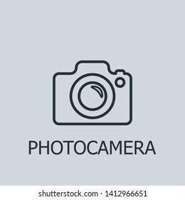 Outline photocamera vector icon. Photocamera illustration for web, mobile apps, design. Photocamera vector symbol.