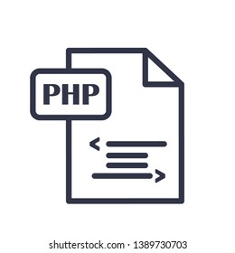 Outline php vector icon. Php illustration for web, mobile apps, design. Php vector symbol.