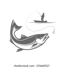 Outline pike fishing vector illustration