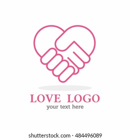 OUTLINE PINK HAND SHAKE LOVE HEART LOGO ICON